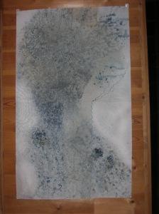 acrylique sur papier  Une rivière, un arbre