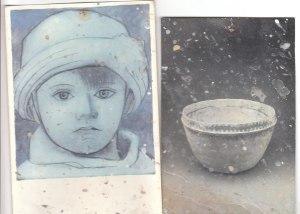 Rapprochement de formes: L'ovale d'un de mes premiers bols et l'ovale du visage de Picasso enfant, autoportrait